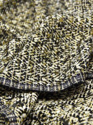 Твид шерсть черно-белый с золотистым люрексом (5320) - Фото 16
