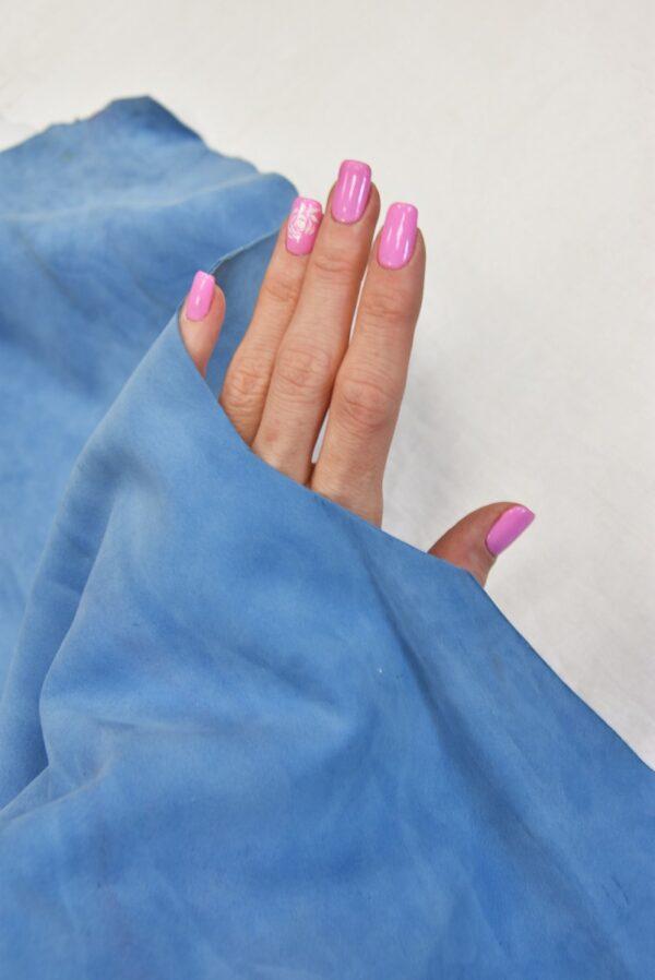 Замша натуральная тонкая плательная голубой оттенок (5371) - Фото 7