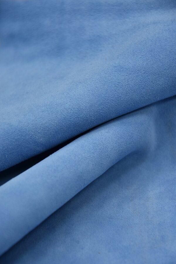 Замша натуральная тонкая плательная голубой оттенок (5371) - Фото 12
