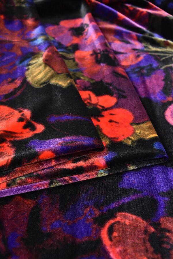 Бархат стрейч черный с красными и розовыми цветами (5411) - Фото 8