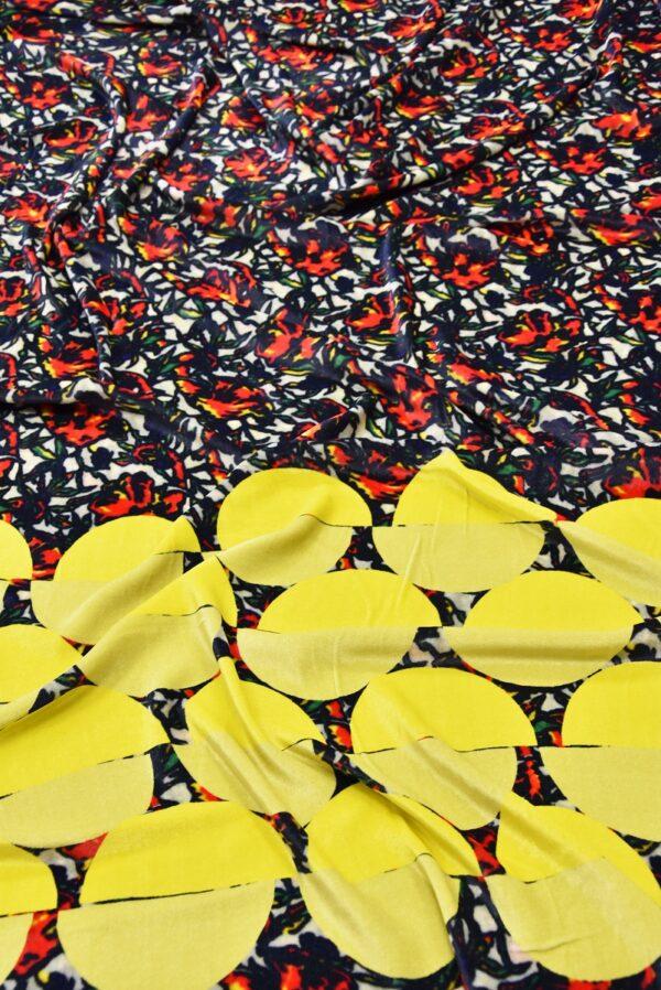 Бархат купон красно-желтый цветы (5440) - Фото 6