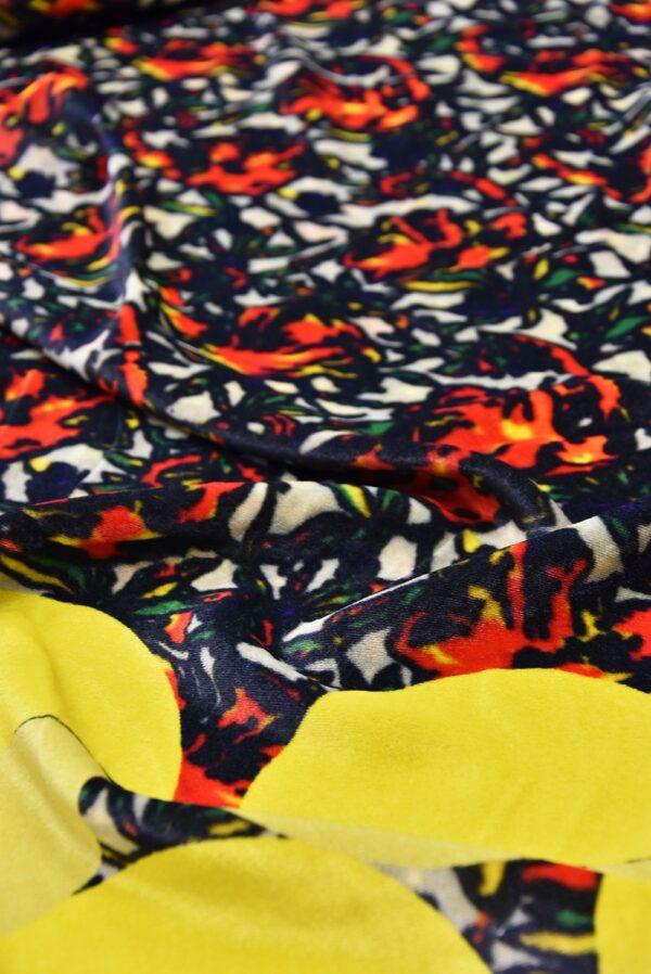 Бархат купон красно-желтый цветы (5440) - Фото 9