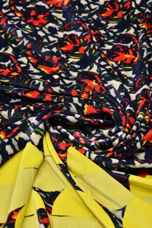 Бархат купон красно-желтый цветы (5440) - Фото 10