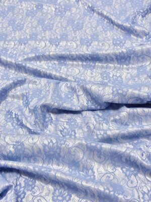 Кружево голубое на трикотажной основе белого цвета (5473) - Фото 12