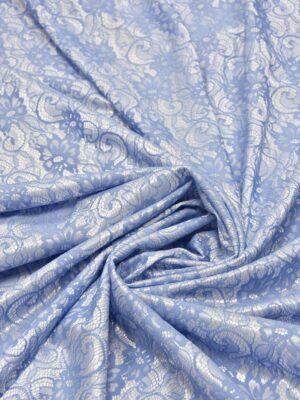 Кружево голубое на трикотажной основе белого цвета (5473) - Фото 13