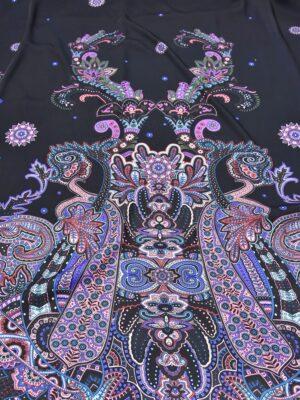 Креп купон фиолетовый Пейсли на черном (5480) - Фото 8