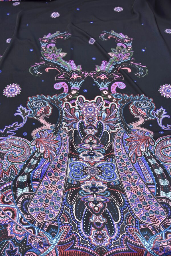 Креп купон фиолетовый Пейсли на черном (5480) - Фото 6