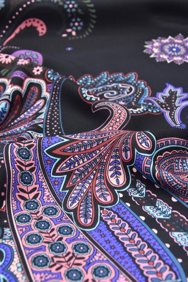 Креп купон фиолетовый Пейсли на черном (5480) - Фото 9