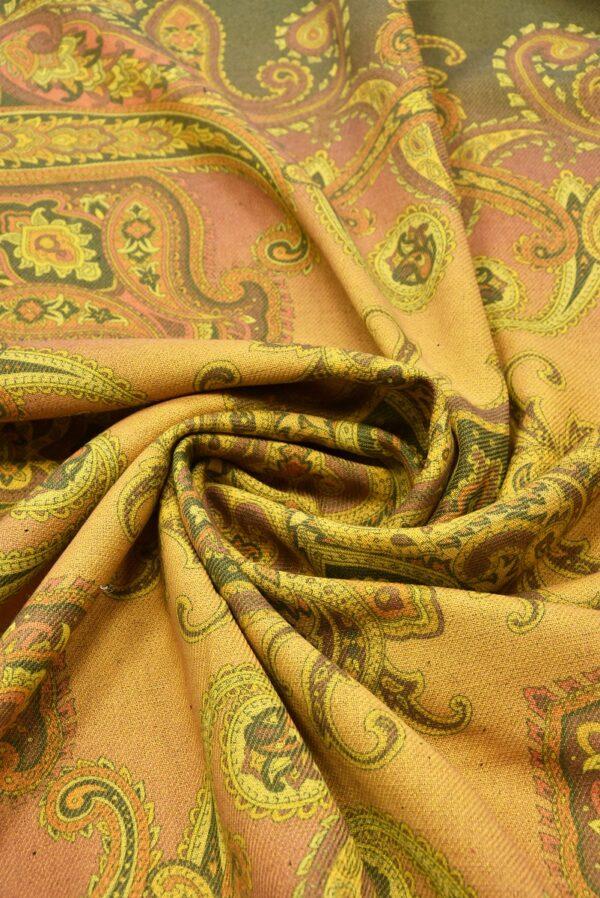 Твид двухсторонний желтый узор Пейсли (5481) - Фото 8