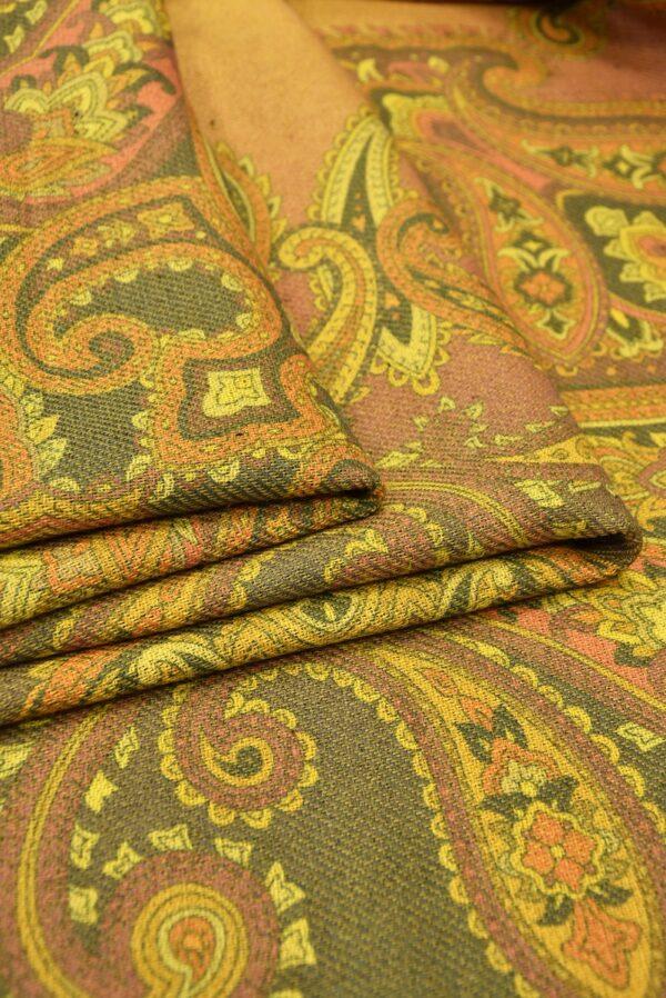 Твид двухсторонний желтый узор Пейсли (5481) - Фото 10
