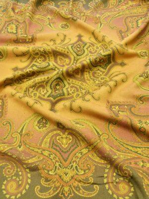 Твид двухсторонний желтый узор Пейсли (5481) - Фото 11