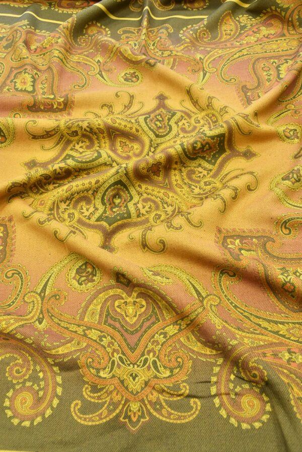 Твид двухсторонний желтый узор Пейсли (5481) - Фото 6