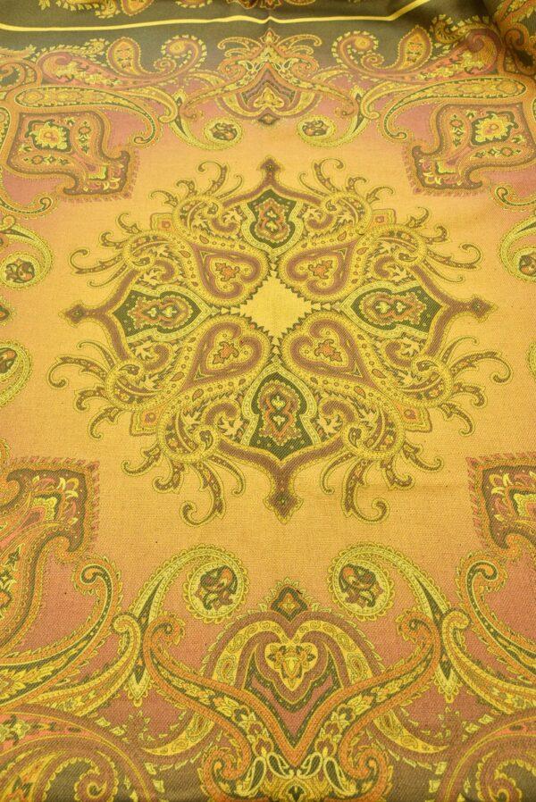 Твид двухсторонний желтый узор Пейсли (5481) - Фото 7