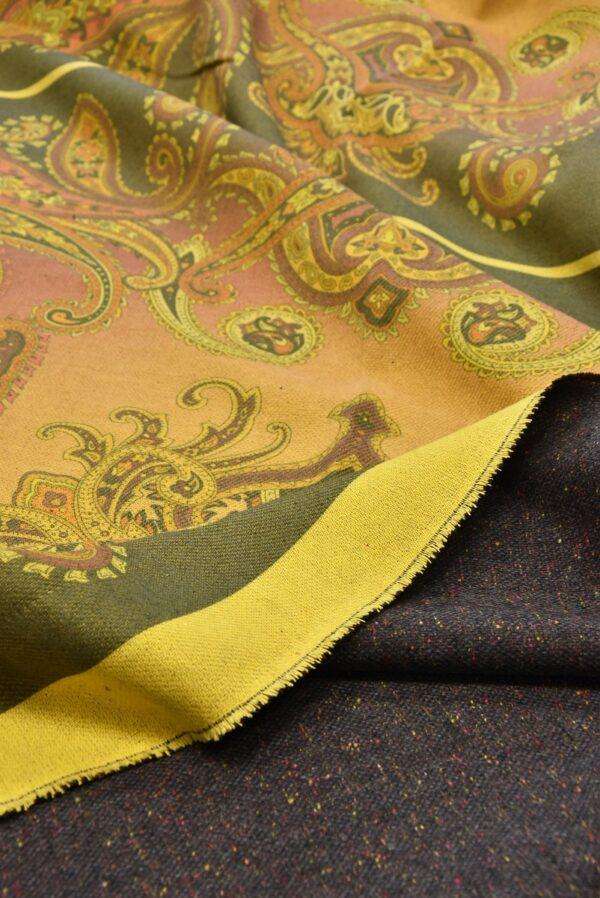 Твид двухсторонний желтый узор Пейсли (5481) - Фото 9