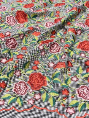 Хлопок стрейч мелкая ч/б клетка с вышивкой (5484) - Фото 14