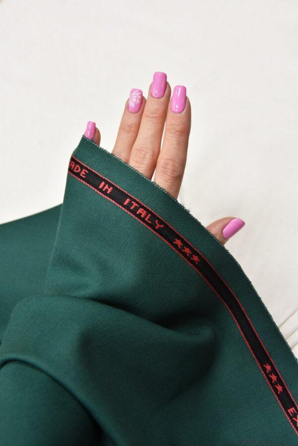 Костюмная шерсть стрейч зеленый оттенок  (5521) - Фото 10