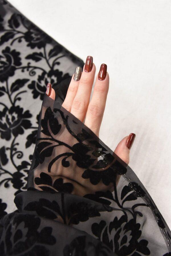 Бархат Деворе с черными цветами (5546) - Фото 11