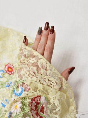Гипюр с вышивкой Садовые цветочки на ванильном (5554) - Фото 12