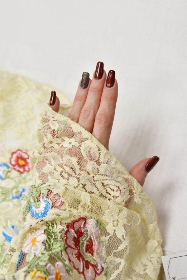 Гипюр с вышивкой Садовые цветочки на ванильном (5554) - Фото 7