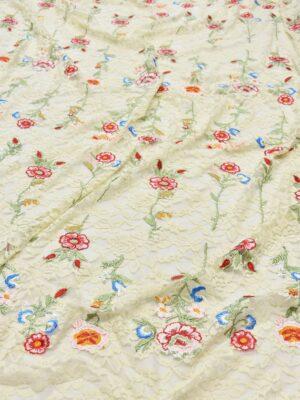 Гипюр с вышивкой Садовые цветочки на ванильном (5554) - Фото 11