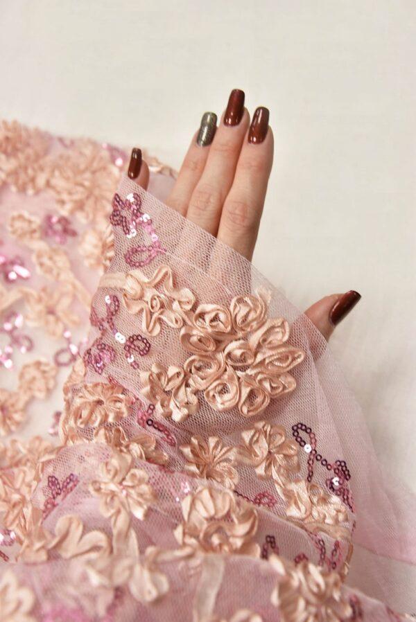 Кружево розовое с 3Д цветами из атласных лент (5565) - Фото 10