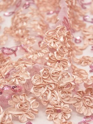 Кружево розовое с 3Д цветами из атласных лент (5565) - Фото 14