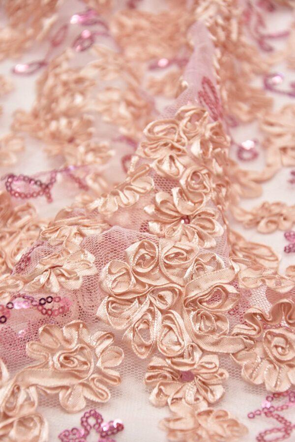 Кружево розовое с 3Д цветами из атласных лент (5565) - Фото 7