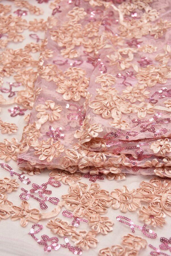 Кружево розовое с 3Д цветами из атласных лент (5565) - Фото 8
