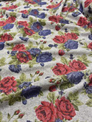 Букле шерсть красные и синие розы на сером (5581) - Фото 14