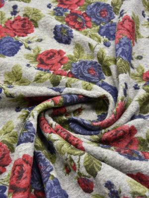 Букле шерсть красные и синие розы на сером (5581) - Фото 15