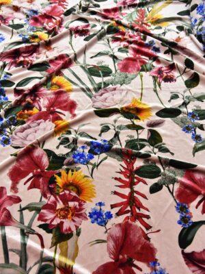 Бархат стрейч яркие цветы на розовом (5628) - Фото 7