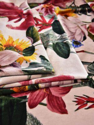 Бархат стрейч яркие цветы на розовом (5628) - Фото 8