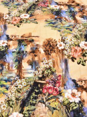 Креп шелк стрейч акварельный пейзаж на персиковом фоне (5647) - Фото 19