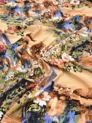 Креп шелк стрейч акварельный пейзаж на персиковом фоне (5647) - Фото 18