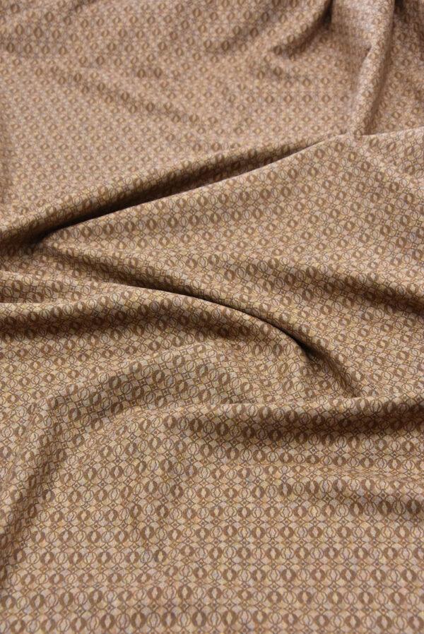 Костюмная шерсть бежевая с коричневым узором (5712) - Фото 6