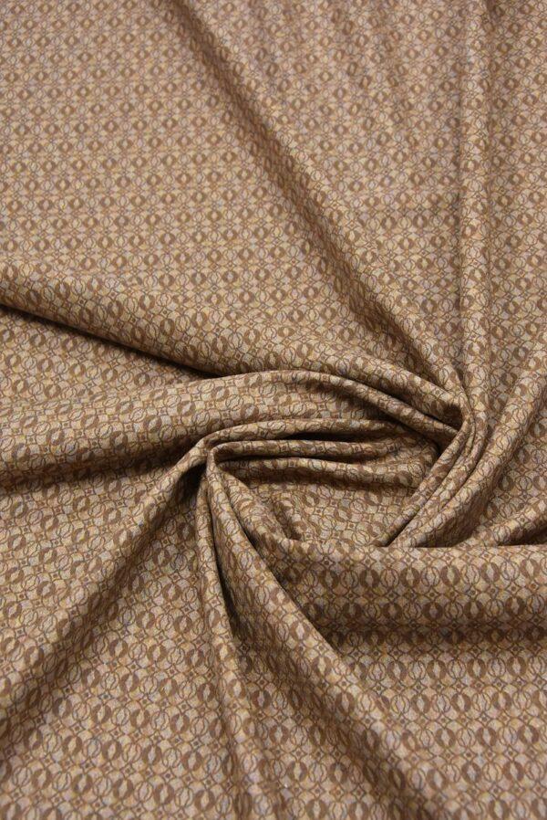 Костюмная шерсть бежевая с коричневым узором (5712) - Фото 7