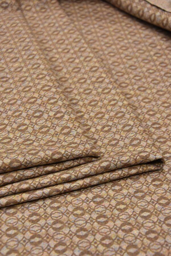 Костюмная шерсть бежевая с коричневым узором (5712) - Фото 9