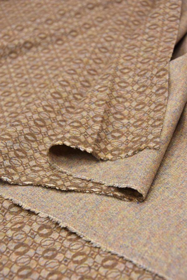 Костюмная шерсть бежевая с коричневым узором (5712) - Фото 8