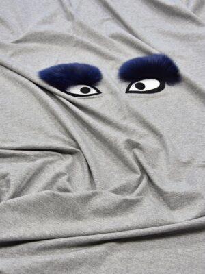 Джерси стрейч с вышивкой меховые глазки на сером (5720) - Фото 15