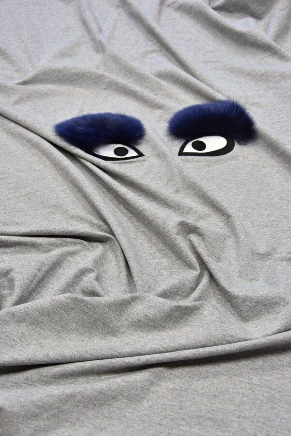 Джерси стрейч с вышивкой меховые глазки на сером (5720) - Фото 6