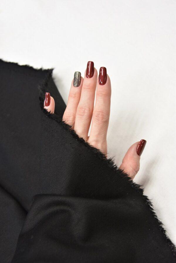 трикотаж черный вышивка с меховыми цветами (5724) - Фото 10