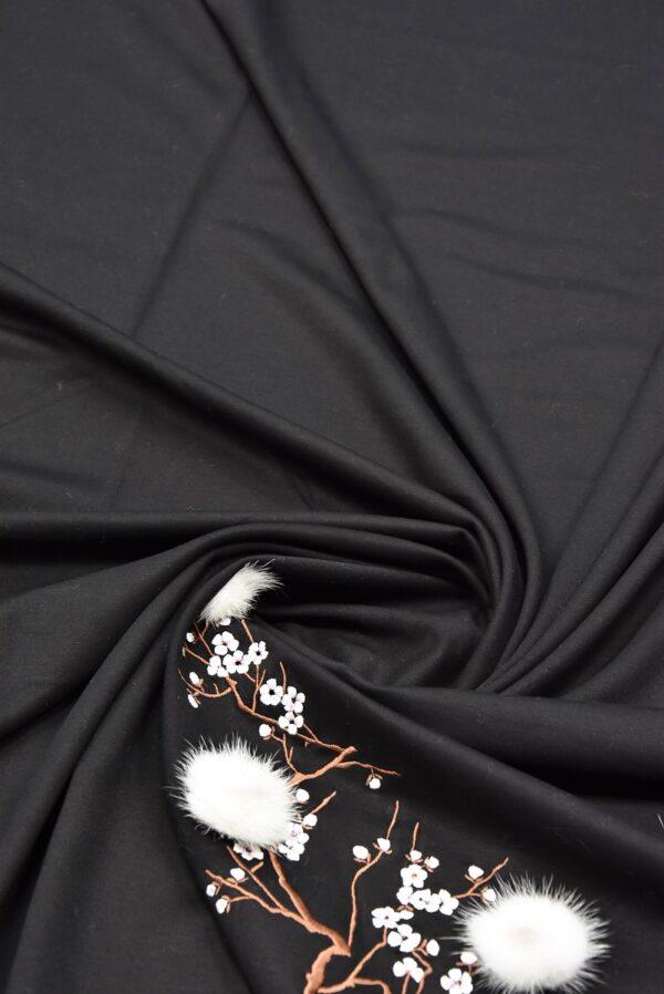 трикотаж черный вышивка с меховыми цветами (5724) - Фото 7