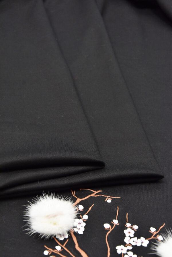 трикотаж черный вышивка с меховыми цветами (5724) - Фото 8