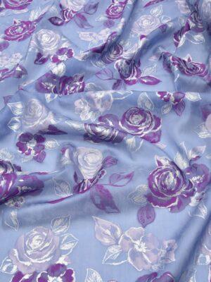 Органза шелк вышивка розы на голубом (5752) - Фото 11