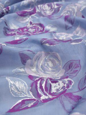 Органза шелк вышивка розы на голубом (5752) - Фото 12