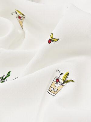 Штапель белый с разноцветными коктейлями (5761) - Фото 12