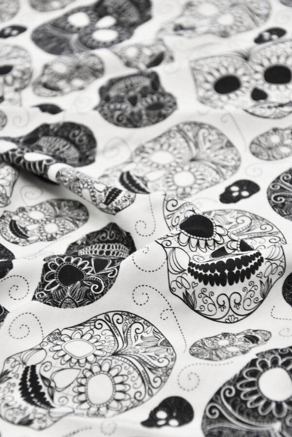 Штапель стрейч белый с черепами (5774) - Фото 9