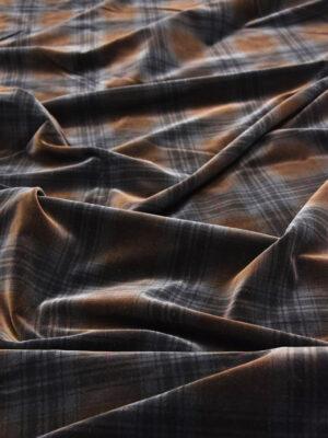 Бархат хлопковый коричневый в крупную клетку (5839) - Фото 16