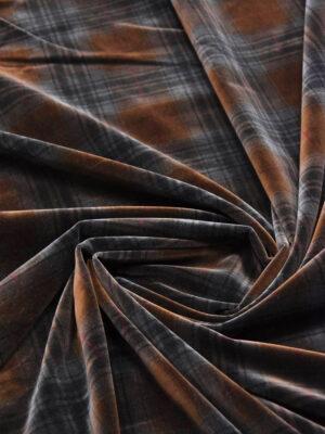 Бархат хлопковый коричневый в крупную клетку (5839) - Фото 17