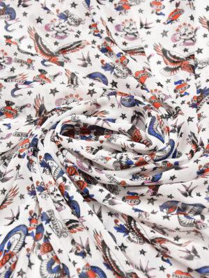 Шифон белый с орлами змеями сердечками (5853) - Фото 13